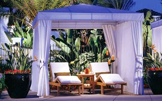 Poolside cabanas at Omni La Costa Resort, Carlsbad, north of San Diego
