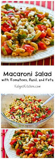 Macaroni Salad Recipe with Fresh Tomatoes, Fresh Basil, and Feta (Meatless) [from KalynsKitchen.com]