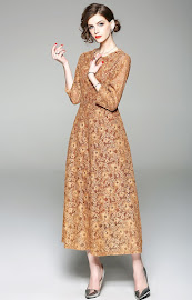 2018 Golden Yellow Long Sleeve Lace Maxi