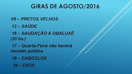 Giras de Agosto 2016