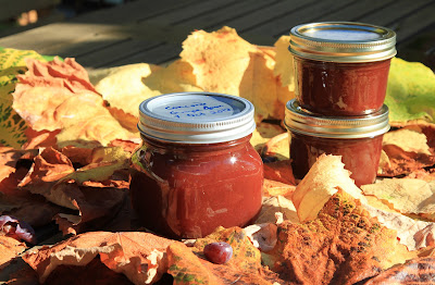 Jars of Concord Grape Jam on Colored Grape Leaves