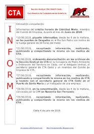 C.T.A. INFORMA CRÉDITO HORARIO CRISTOBAL NIETO, JUNIO 2018