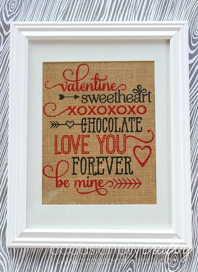 Print on Laminated Burlap to create this lovely Valentine's Day Subway Art!