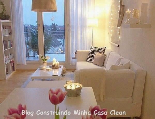 Sala De Estar Branca E Rosa ~ Construindo Minha Casa Clean 15 Salas com Sofá Branco Decoradas
