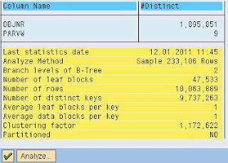 SAP ST05 SQL Trace output SQL statement explain plan index analysis