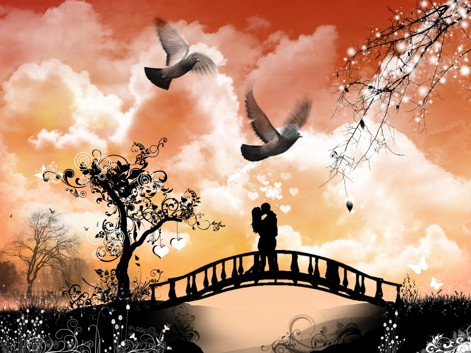Romantic Love Wallpaper Images : Wallpaper collection Romantic Love couple kissing: Wallpaper Love Kiss