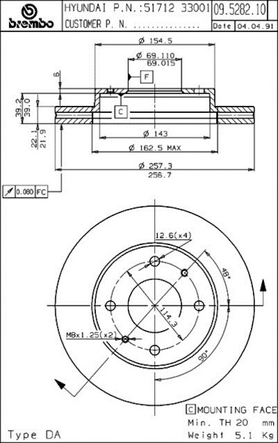 Brake Disc Hyundai SONATA (09.5282.10)