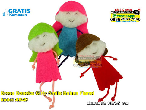 Bross Boneka Girly Smile Bahan Flanel unik