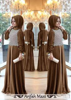 Arifah Maxi Dress - Baju Spandex Korea kombinasi Brukat