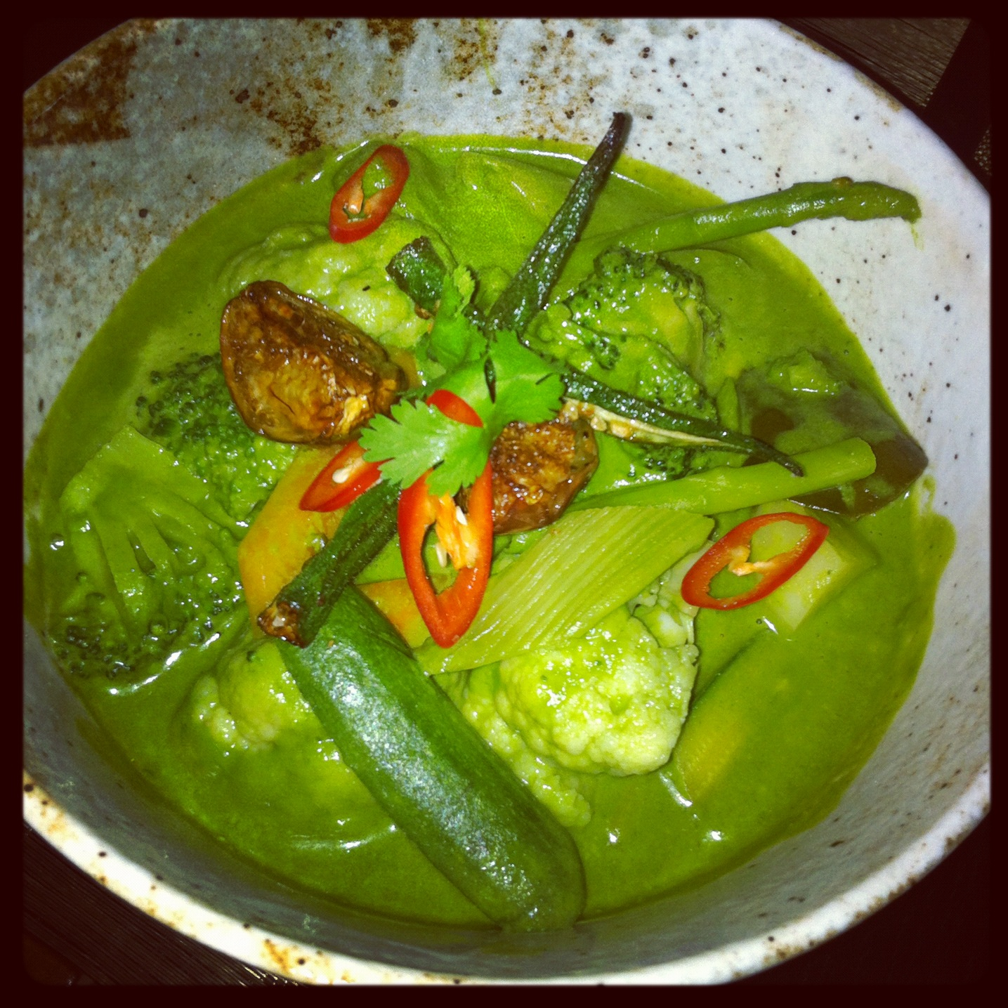 Green vegetable curry at Spice Market in the W Hotel, London