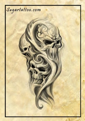 horror tattoos,skulls tattoos,evil tattoos,scary tattoos,freaky tattoos,smoke tattoos,shoulder tattoos