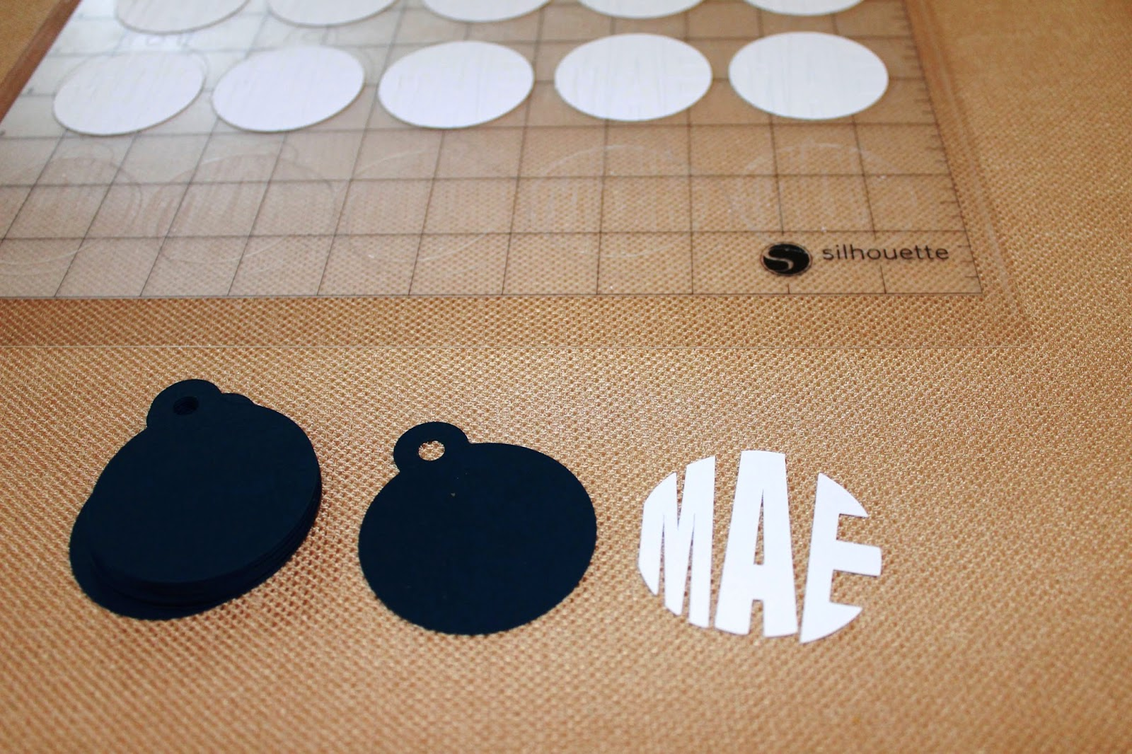 monogram party favor tag made on silhouette cameo