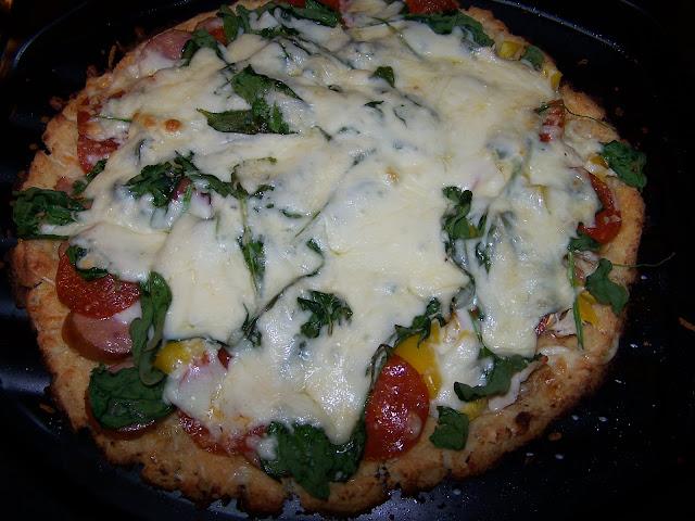 Skinny Low Carb Cauliflower Crust Pizza, GF, DF