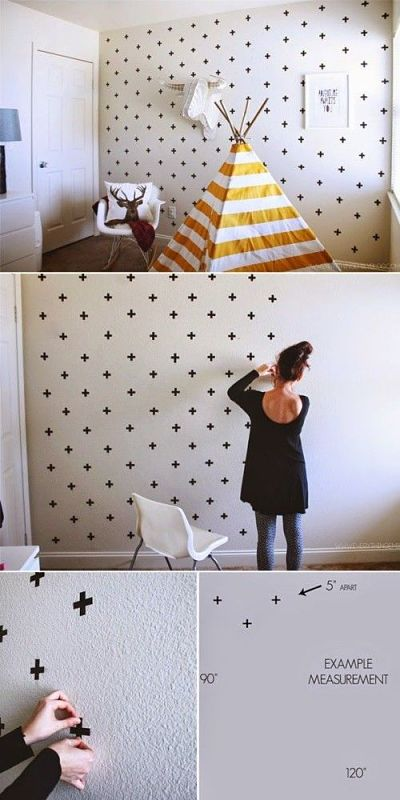 Pared de dormitorio decorado con washi tape