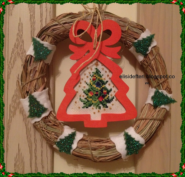cross stitch door wreath