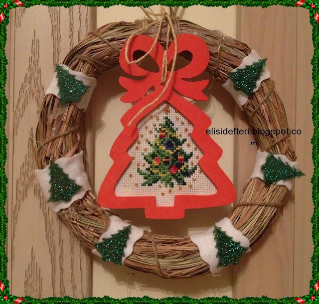 cross stitch door wreath