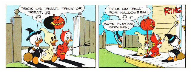 "Huey Dewey and Louie in ""Trick or Treat"" by Carl Barks"