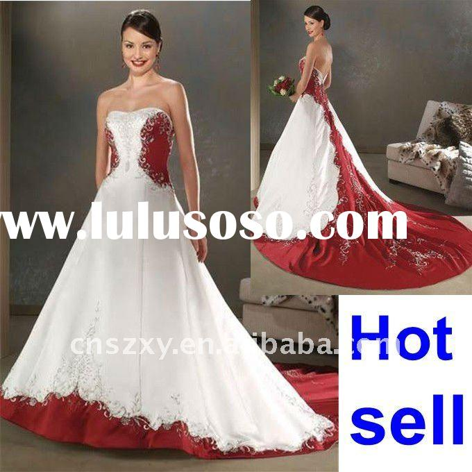 White Wedding Dresses With Red Trim : Red and white wedding dress with trim strapless