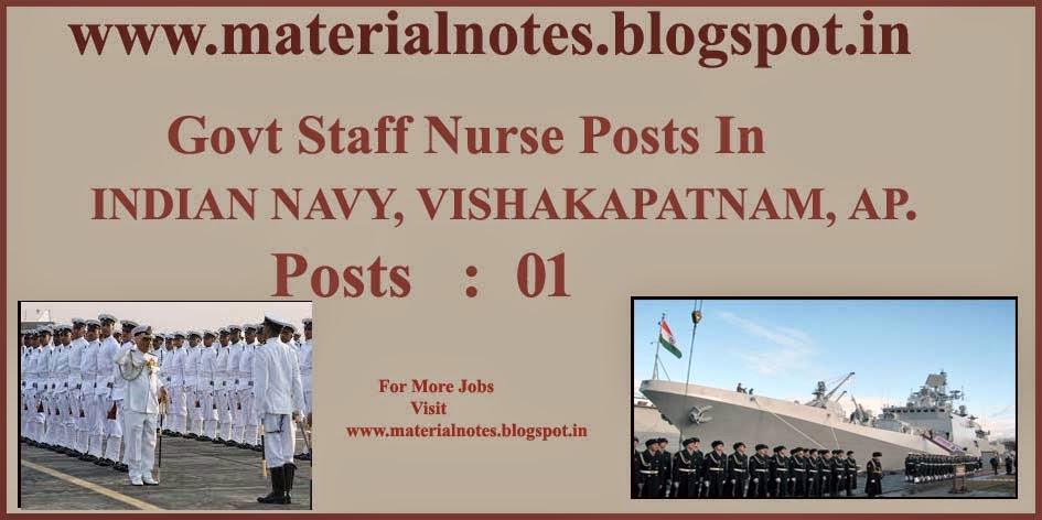 govt staff nurse post in indian navy  vishakapatnam