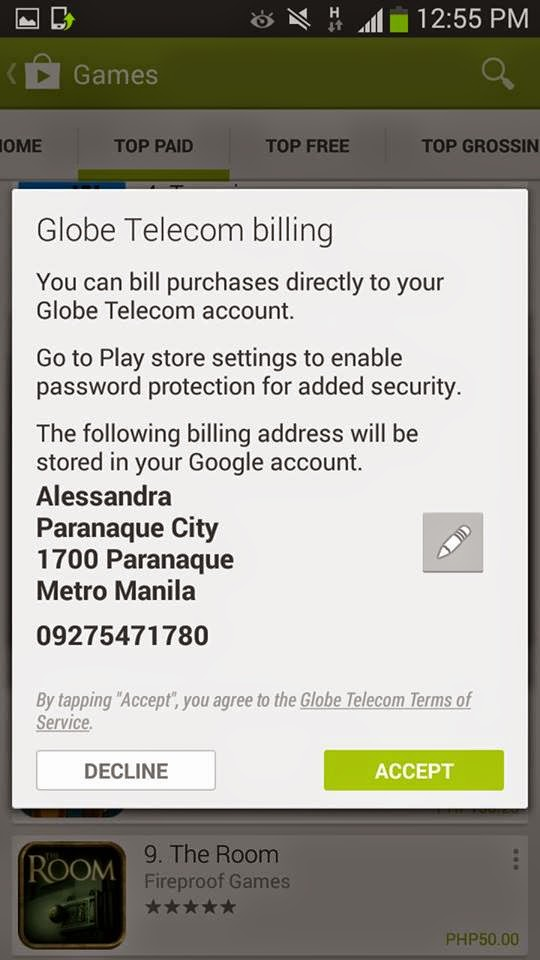 play store how to send bill to phone fido
