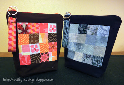 Oh, Fransson! zip pouches, style C with patchwork, front view