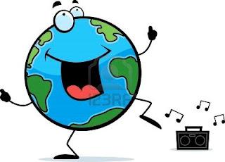 La gente baila por el planeta tierra