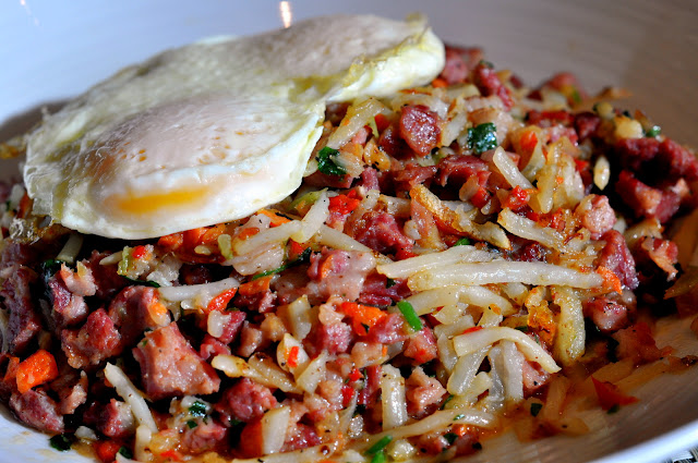 Sweet Potato Corned Beef Hash - Raffles Café - Mandalay Bay - Las Vegas, NV | Taste As You Go