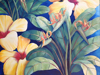 Detail of Bird of Paradise and Hibiscus Painting by Pamela Hunt Lee