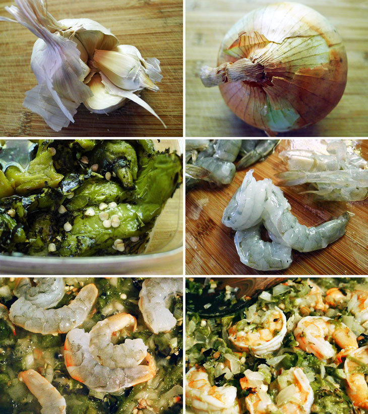 Cooking Weekends: Roasted Hatch Chile Peppers & Shrimp