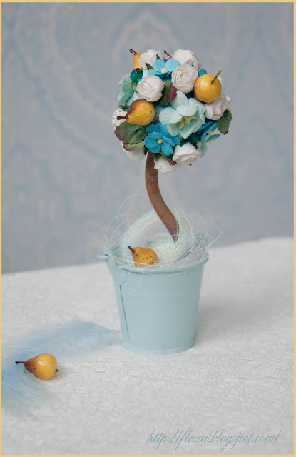 топиарий, дерево счастья, маленький топиарий, топиарий своими руками, топиарий цветы фрукты, топиарий груши, голубой топиарий