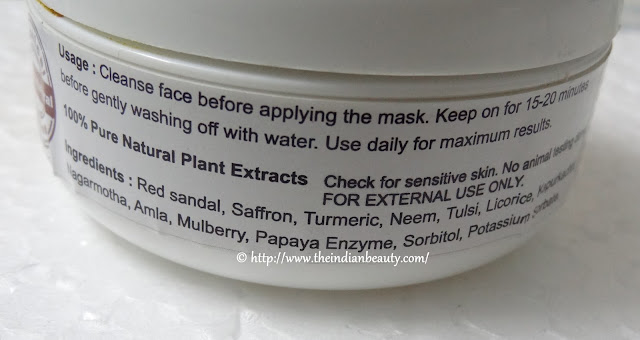 aura vedic ritual skin lightening mask ingredients