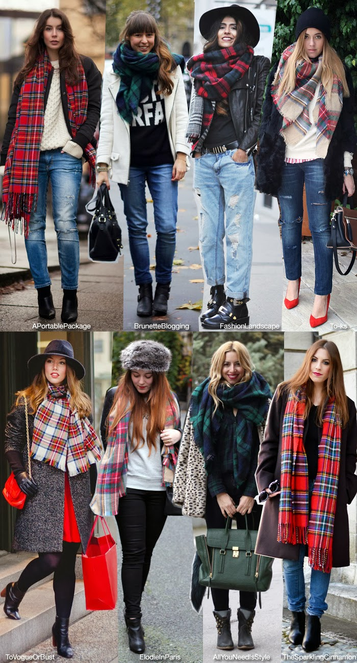 how to wear tartan scarf red tartan scarf tartan trend tartan outfit thesparklingcinnamon blueisinfashionthisyear press feature