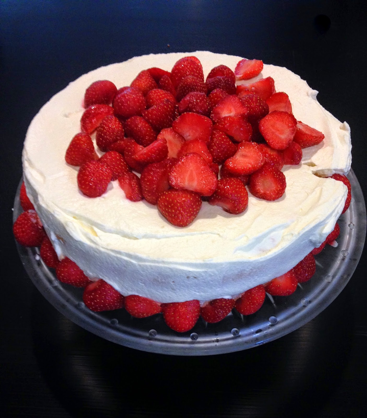 A picture of my strawberry birthday cake