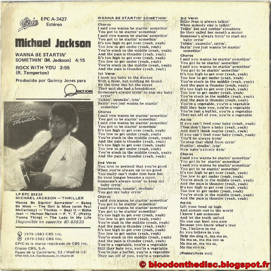 Wanna Be Startin Somethin 45T Spanish Back Cover