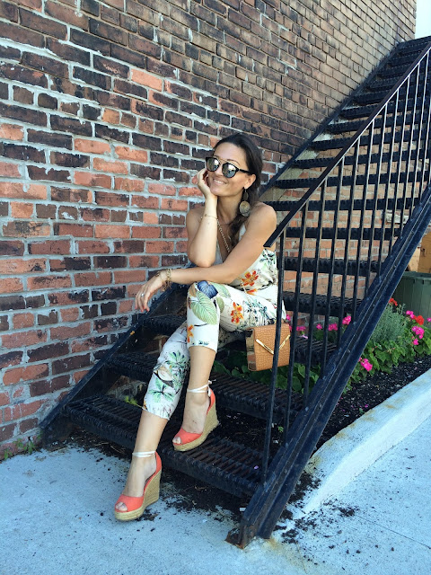 Jumpsuit, floral print, summer outfit, paysuit, Toronto, toronto blogger
