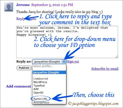 Screenshot to show choosing the ID option 'Name/URL' when commenting on Blogger