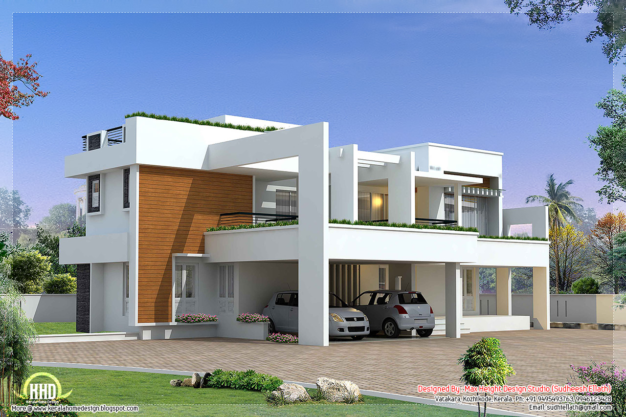 4 bedroom luxury contemporary villa design kerala home for Villas designs photos