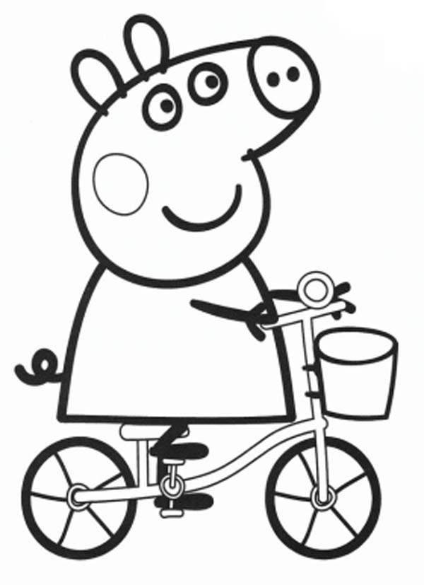 COLOREAR PEPPA PIG EN BICICLETA - PEPPA PIG VA EN BICI - Dibujos ...