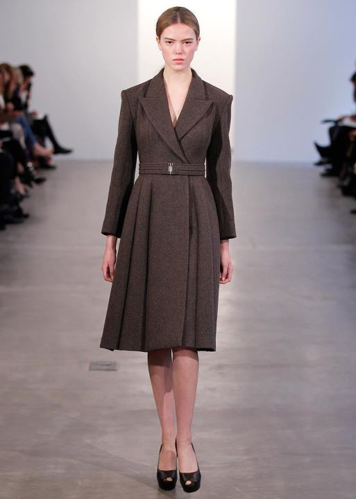 CK Lace pleated v neck double breasted brindle wool coat dress