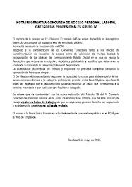 NOTA INFORMATIVA CONCURSO DE ACCESO PERSONAL LABORAL CATEGORÍAS PROFESIONALES GRUPO IV