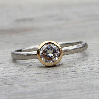 moissanite palladium ring