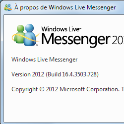 capture d'écran de Windows Live Messenger 2012