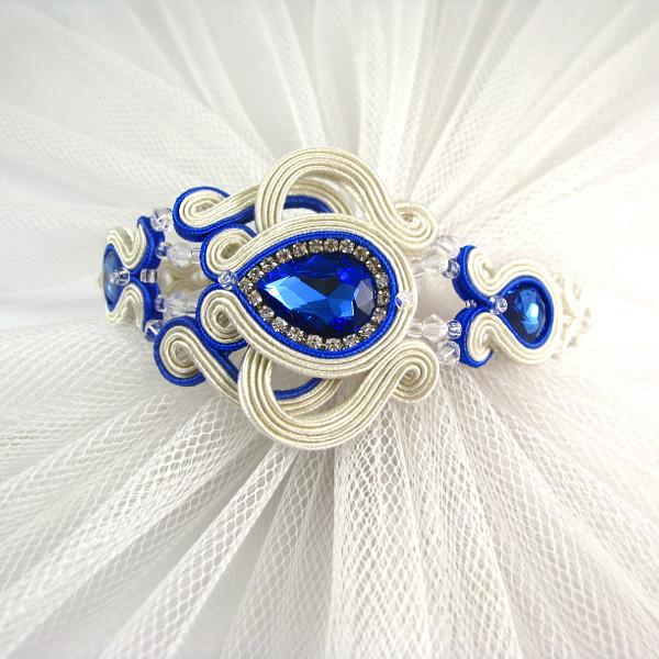 Chabrowa bransoletka ślubna sutasz ivory z kryształami i cyrkoniami.