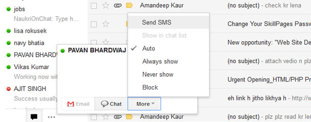 Send free sms from gmail chat