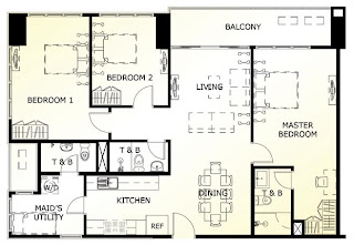 The Maridien at High Street South Block Three Bedroom Unit Plan