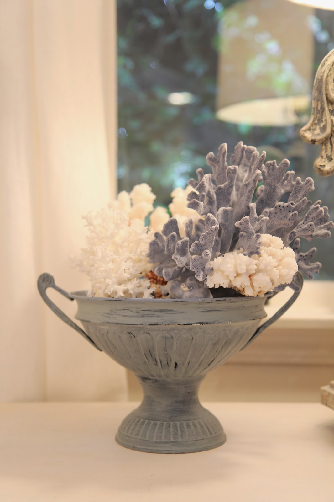 Blue urn with coral; Transforming an Urn for Home Decor; Nora's Nest