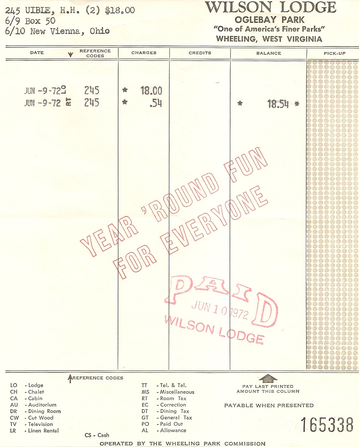 uibles a family blog 1972 oglebay park wilson lodge hotel bill june 9