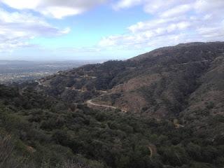 View southwest toward Little Dalton Canyon and Glendora Mountain Road from Lower Monroe Road