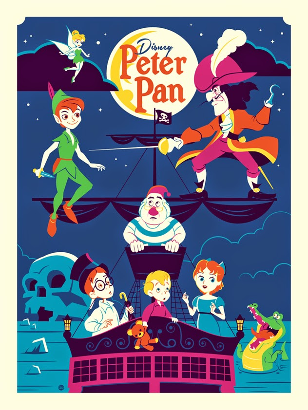 "Peter Pan ""Greetings from Skull Rock"" Disney Screen Print by Dave Perillo.jpg"