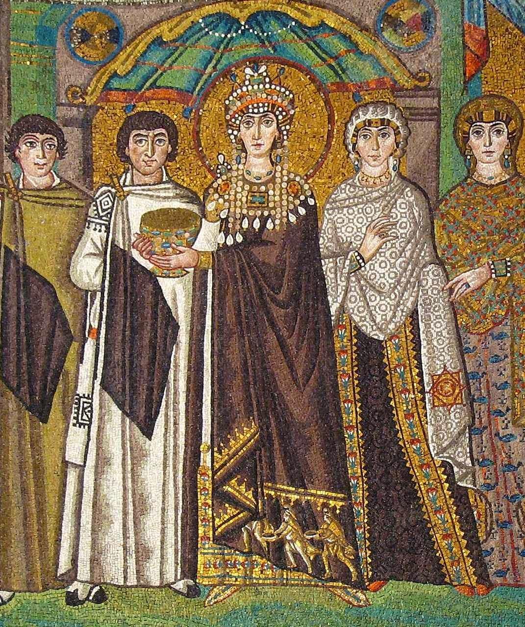 Ravenna, igreja de San Vitale, imperatriz Teodora e séquito.